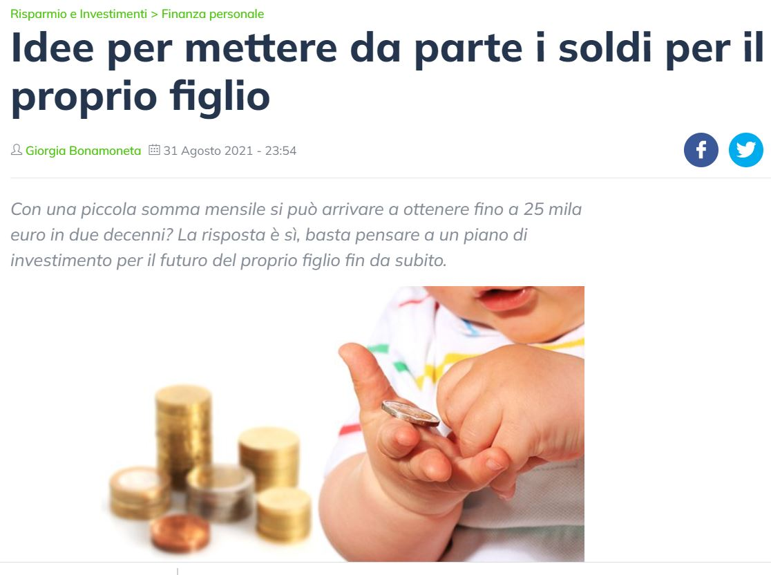 Mettere i soldi da parte per i figli